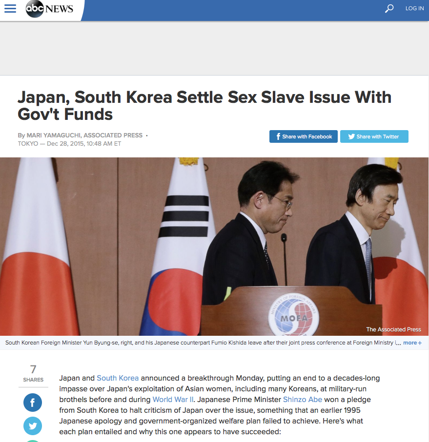 Japan, South Korea Settle Sex Slave Issue With Gov't Funds By MARI YAMAGUCHI, ASSOCIATED PRESS